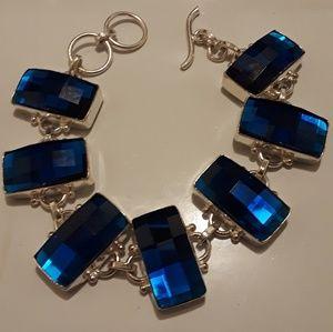 925 Silver Blue Sapphire colored bracelet